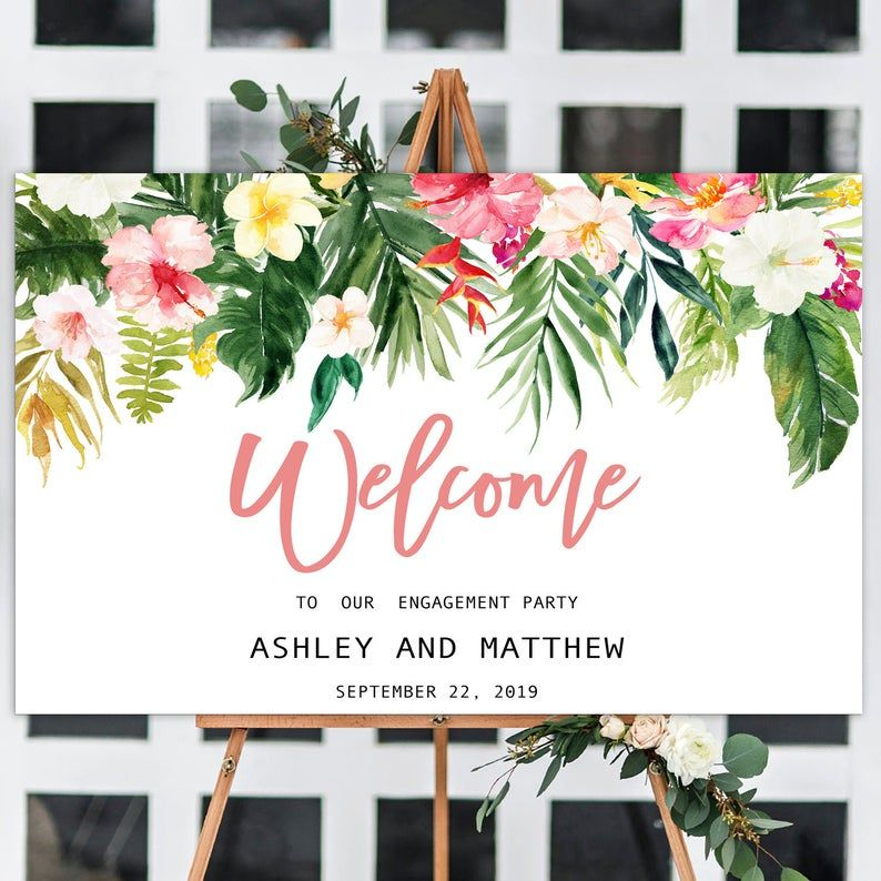 Tropical Engagement Party Sign, Welcome Engagement Party, Hawaiian Engagement Party Welcome sign, Large Welcome Poster, Personalized sign #engagementpartyideasdecorations