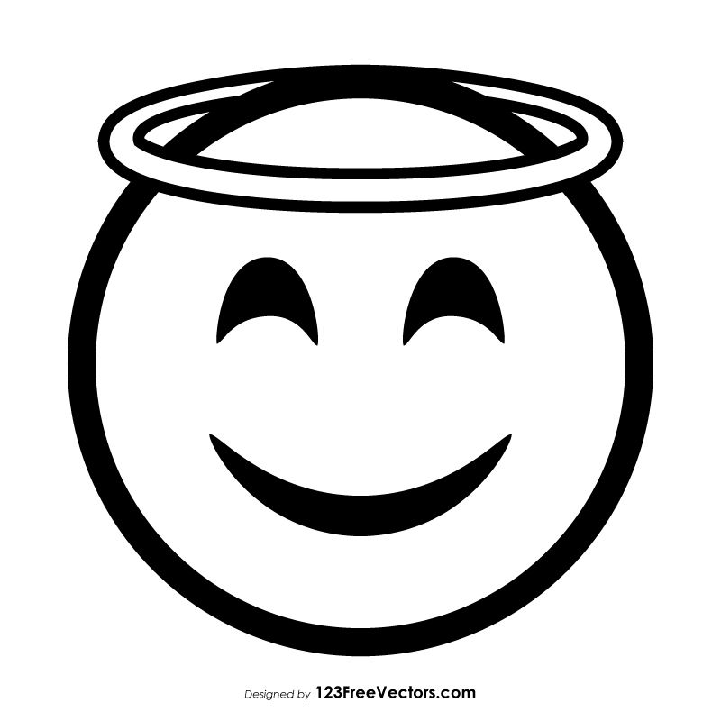 Smiling Face With Halo Emoji Outline Emoji Drawings Emoji Coloring Pages Smile Face