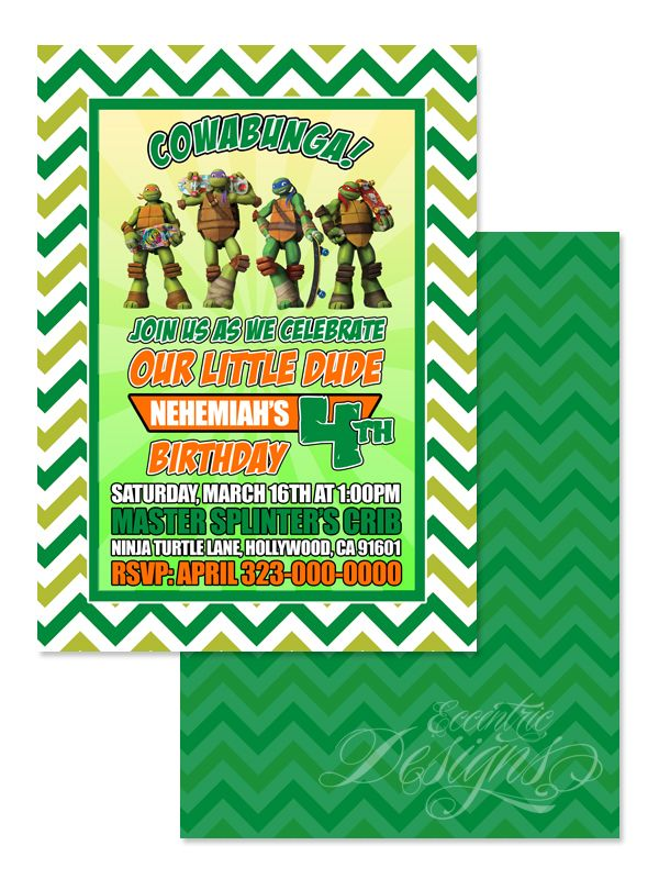 Teenage Mutant Ninja Turtles - Birthday Party Invitation / Child ...