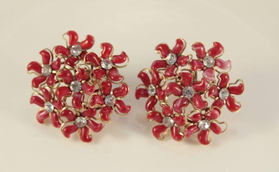 RED FLOWER EARRINGS VINTAGE STYLE