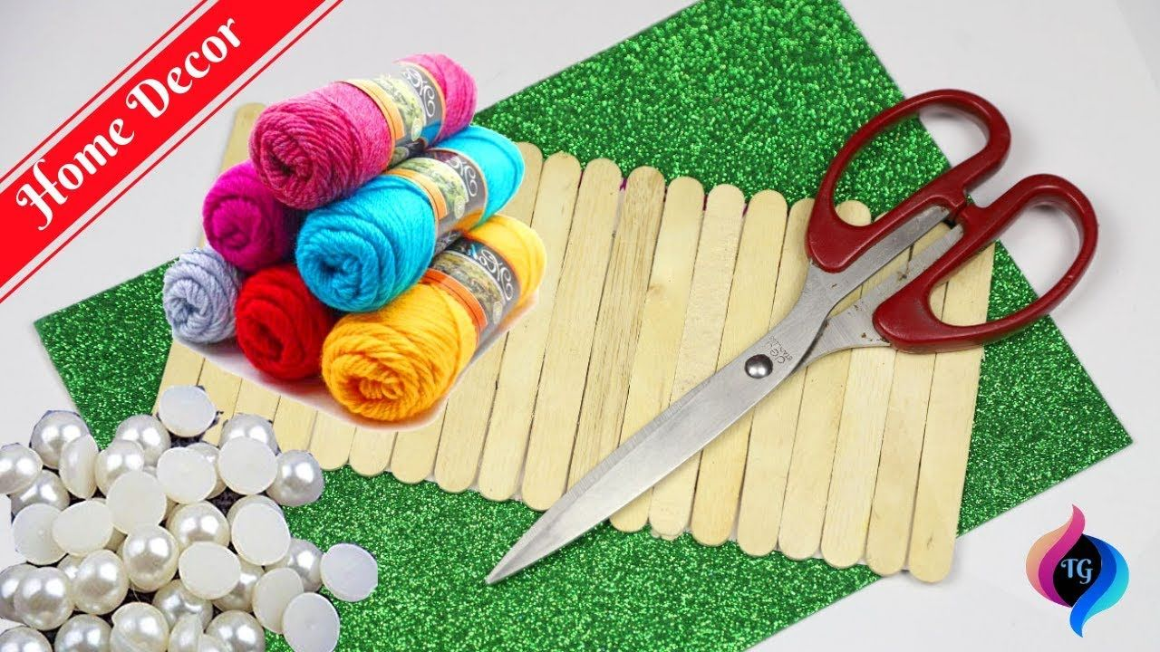 Popsicle stick crafts easy | Home decor with popsicle sticks and wool crafts #popciclesticks