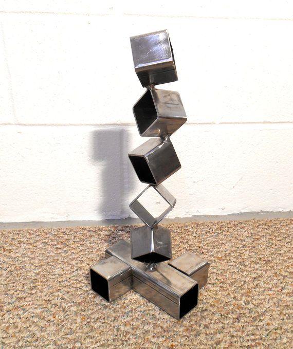 Modern Abstract Mild carbon Steel Metal Sculpture In//Outdoor