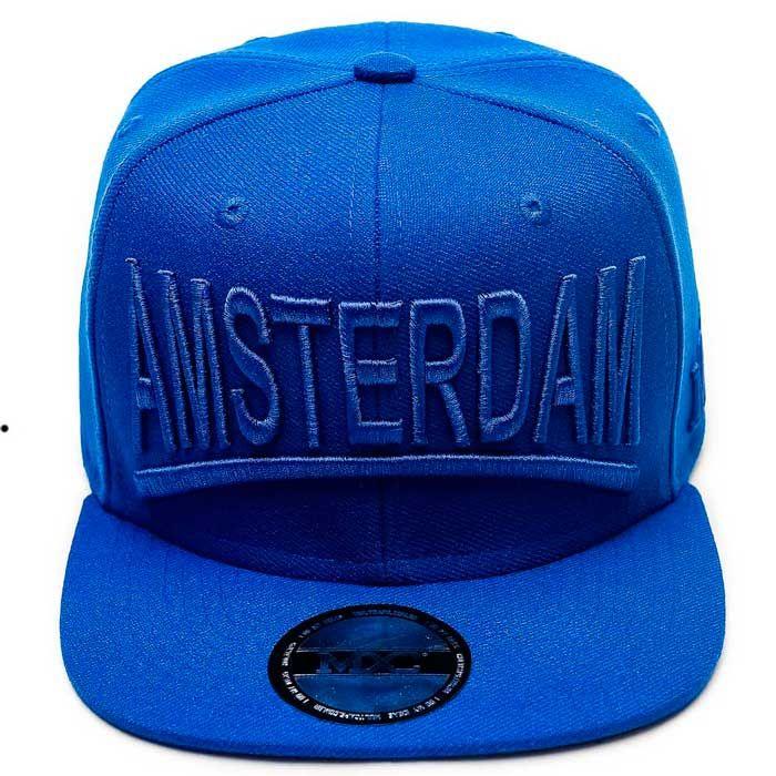 3ebe31d7fd Boné Aba Reta 6 Gomos em poliéster, azul, modelo Snapback marca MXC original,  aba 8 costuras.