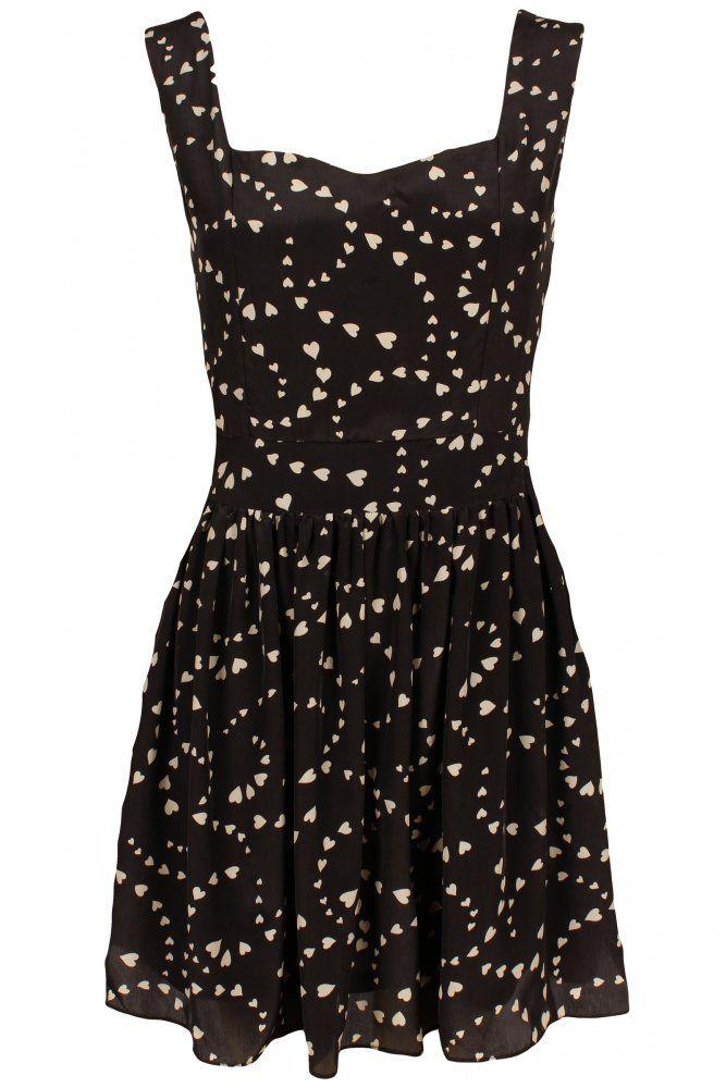 Black Heart Print Summer Dress
