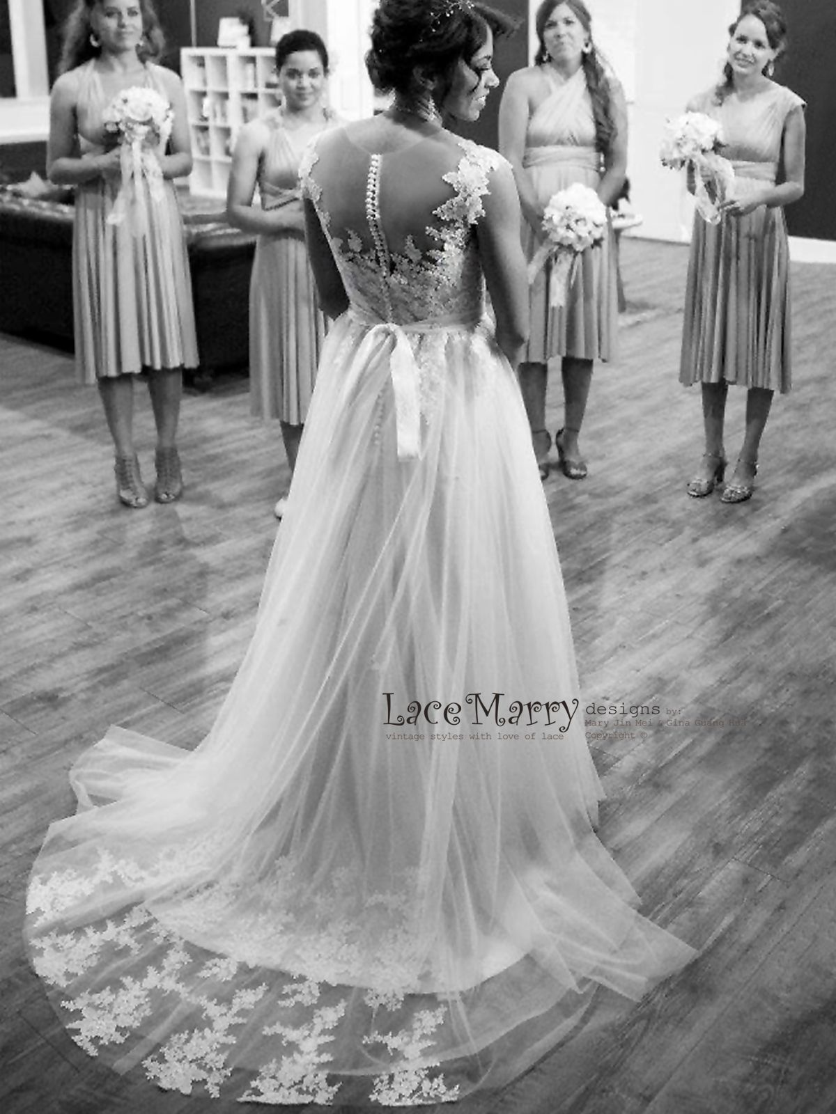 Boho Lace Wedding Dress From Airy Tulle Cream Champagne Silk
