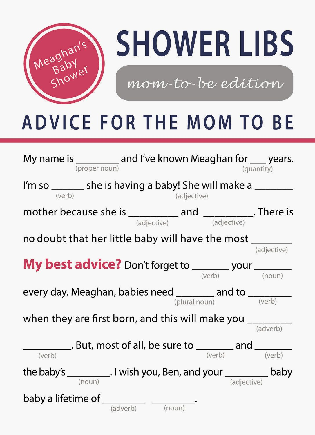 Printable Baby Shower Games For Girls Charming Printable Baby Shower Mad Libs Game Ideas Baby