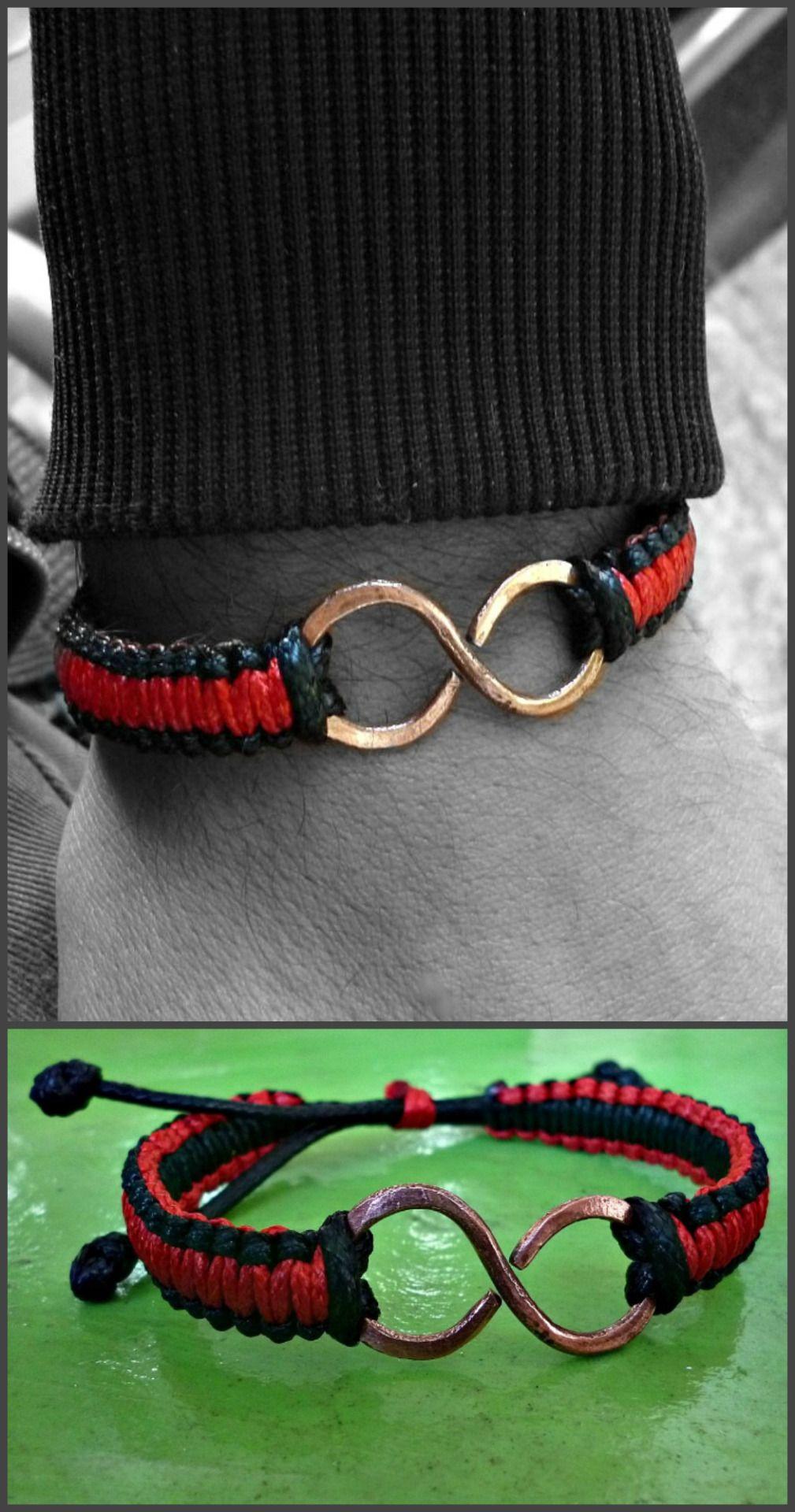 70748543a142 pulsera infinito de cobre con tejido elaborado con cordon piel de serpiente