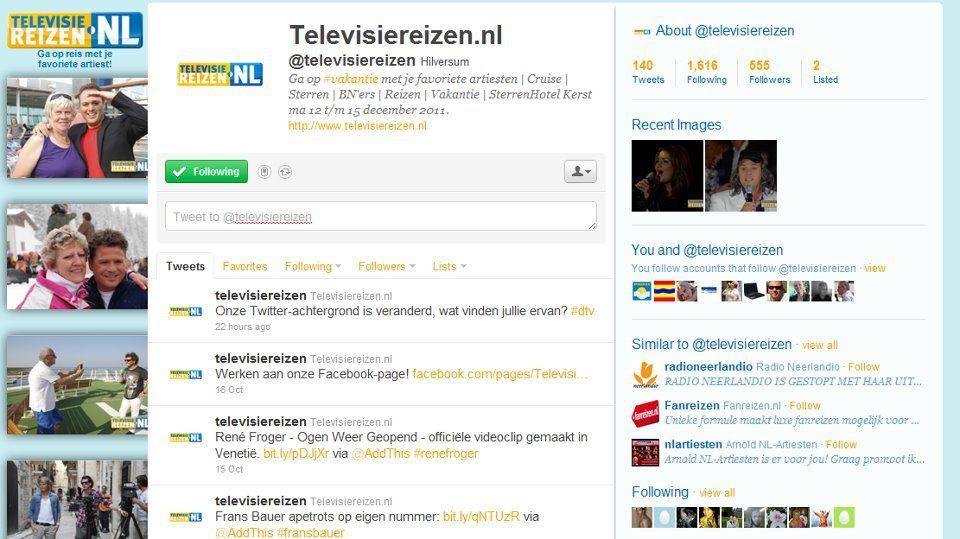 Twitterpagina Televisiereizen