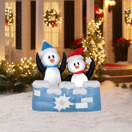 4\u0027 Tall Airblown Christmas Inflatable Penguins Snowball Fight