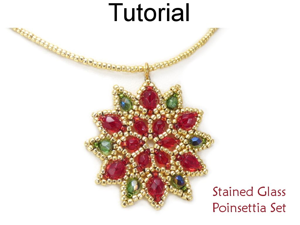 Beaded poinsettia earrings pendant necklace christmas holiday beaded poinsettia earrings pendant necklace christmas holiday jewelry making pattern tutorial by simple bead patterns aloadofball Choice Image
