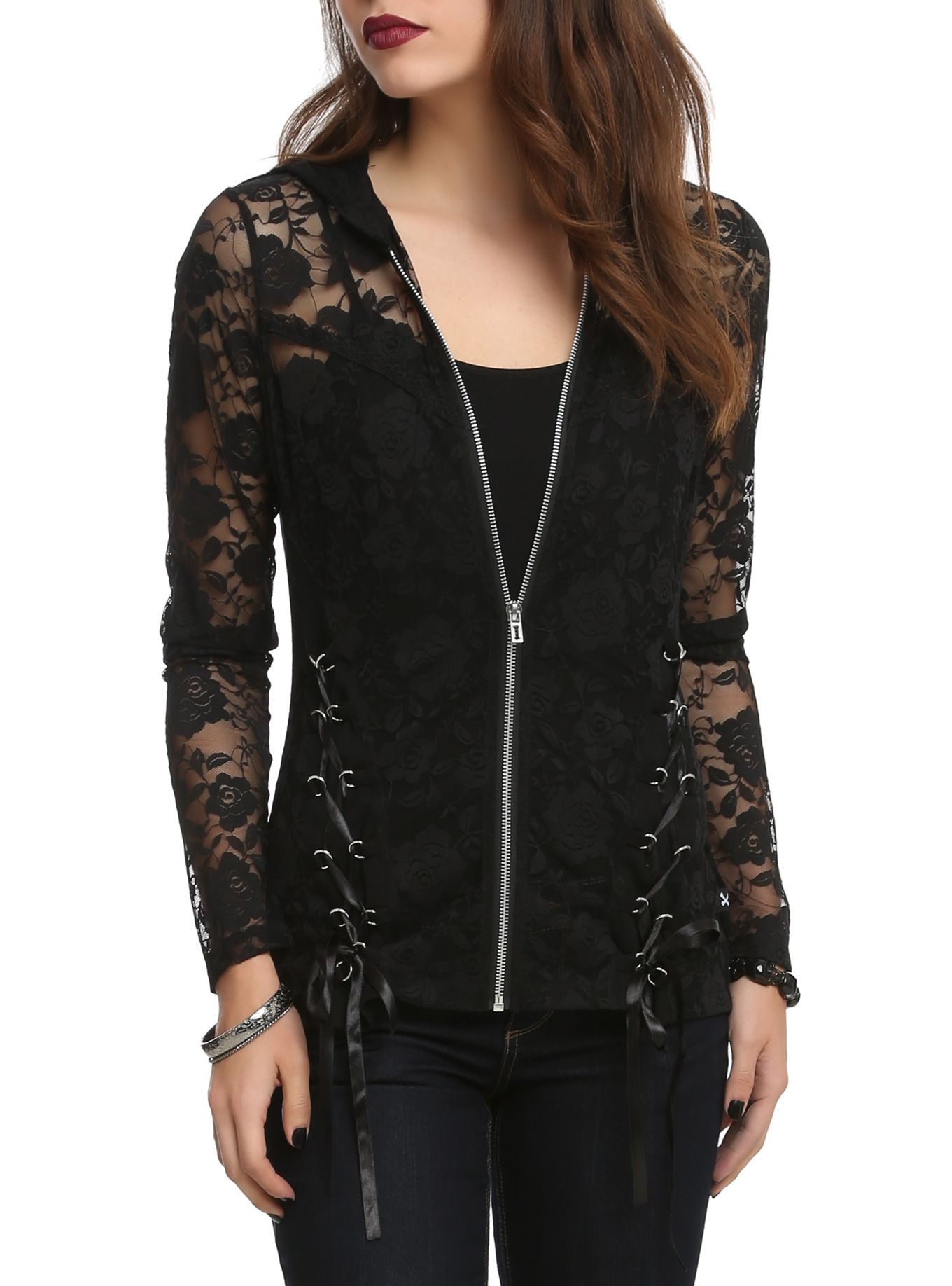 e2f3de9fb9d Black hoodie with a floral lace front and hood and lace-up detailing.  Absolutely Love Love this . Hot Topic