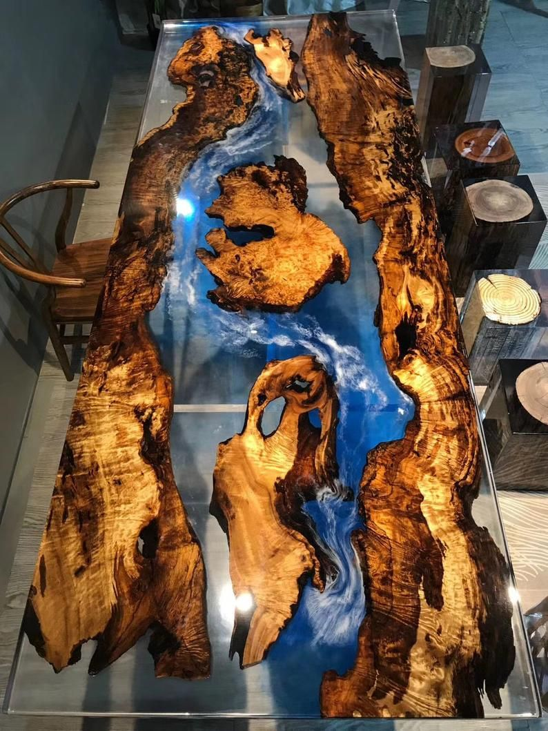 Make-to-order Epoxy resin and wood river table, ep