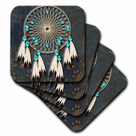 3dRose Designer One of A Kind Native American Art, Soft Coasters, set of 8