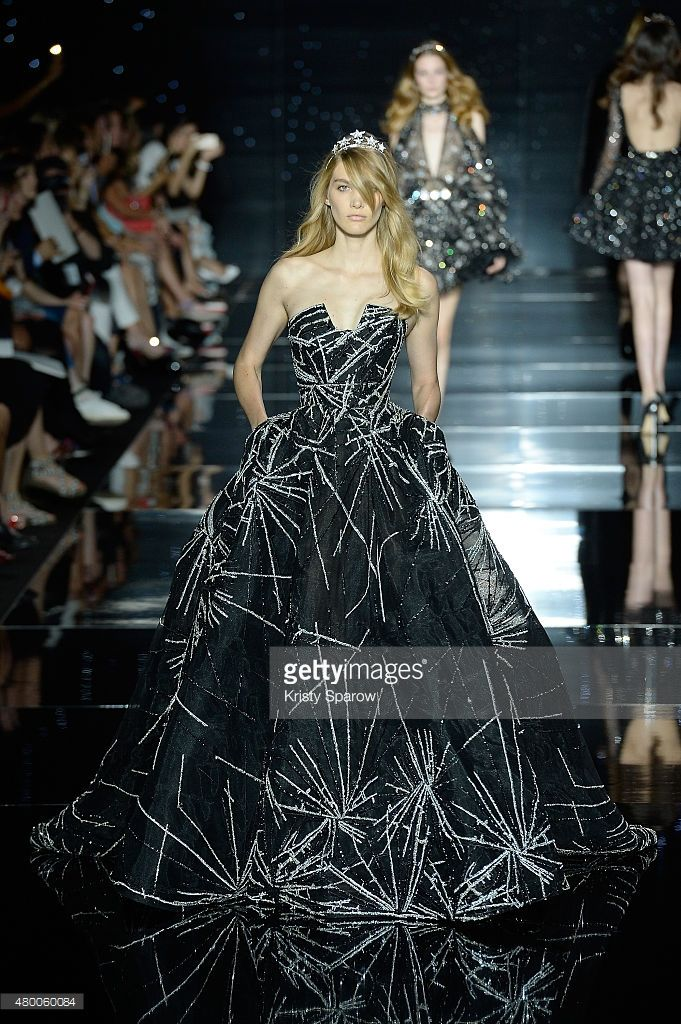 A model walks the runway during the Zuhair Murad show as part of Paris Fashion Week Haute Couture Fall/Winter 2015/2016 on July 9, 2015 in Paris, France.