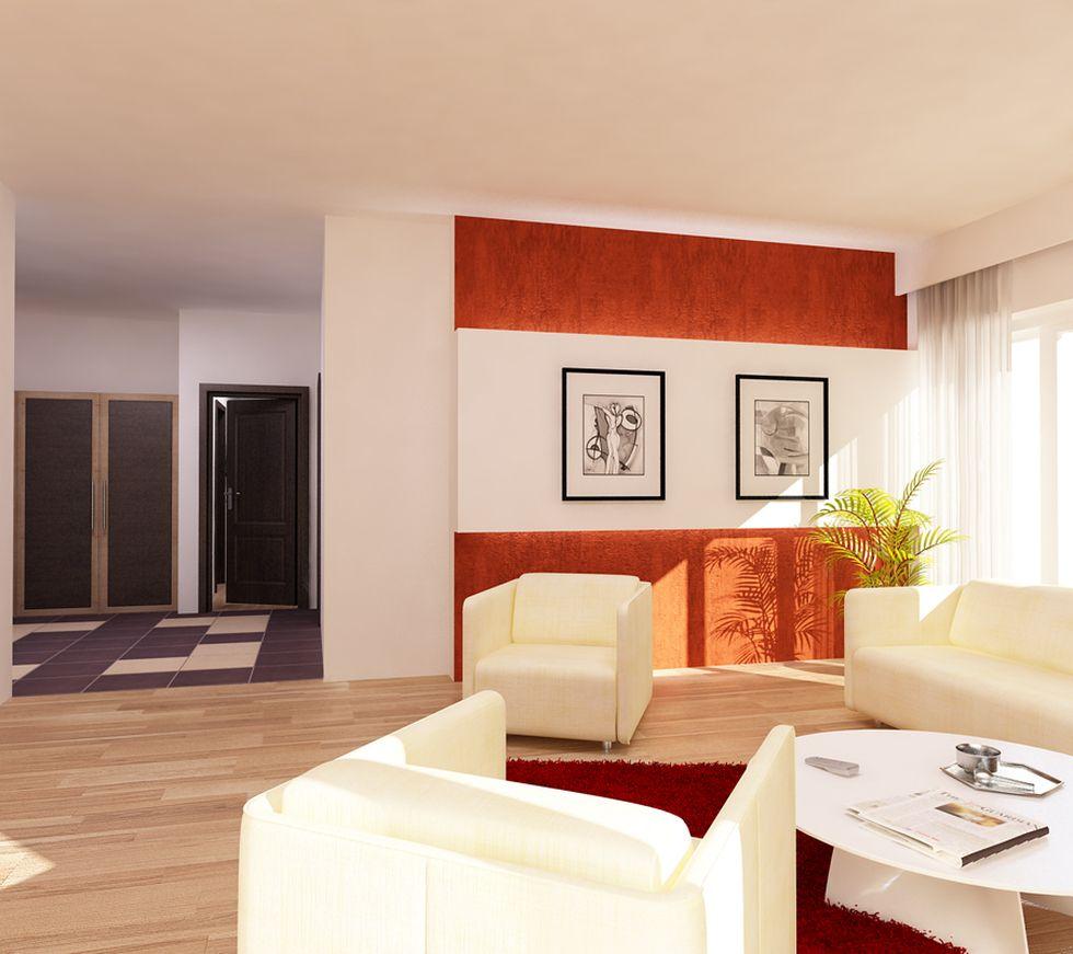 wohnzimmer orange weiß