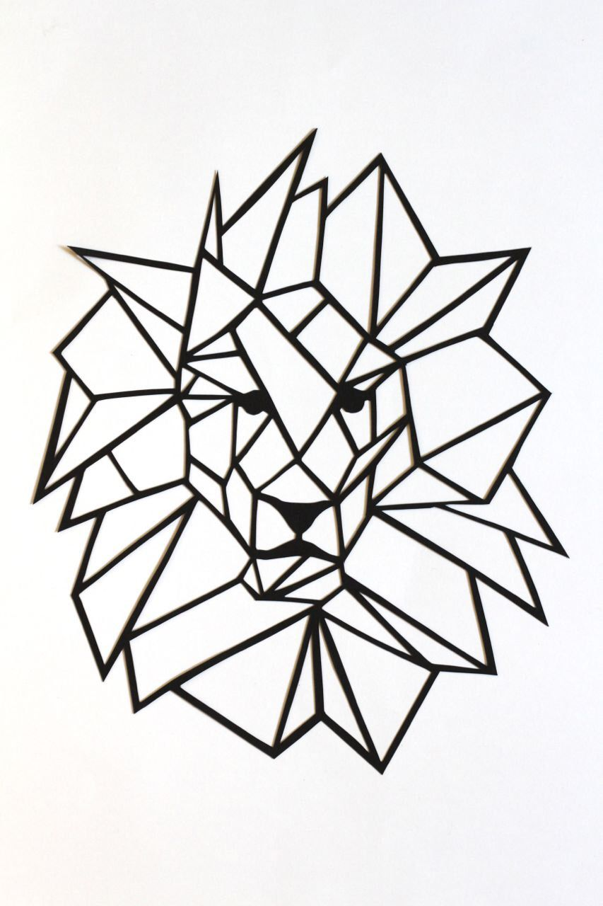 Original Simple Lion Papercut Wall Art 6.75x8  basic geometric original lion head and mane black cut out 2D triangular modern design by PrairieAndPine on ...  sc 1 st  Pinterest : 2d wall art - www.pureclipart.com