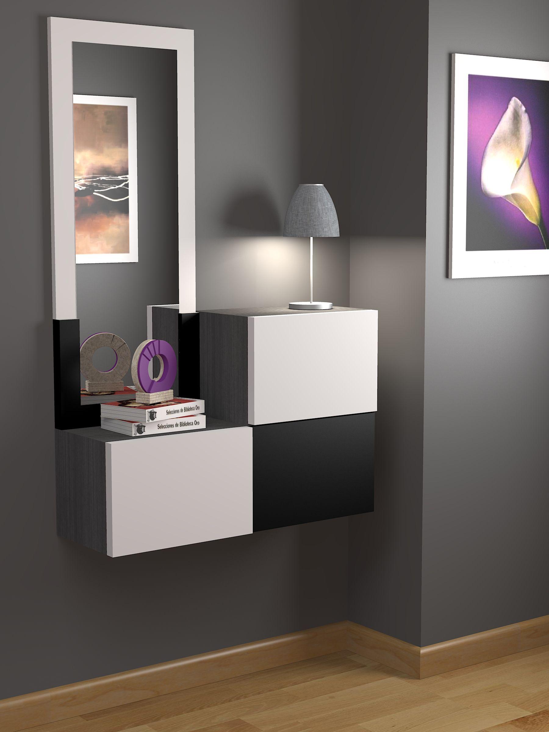 Recibidor a medida moderno acabado lacado color a elegir for Moderno furniture