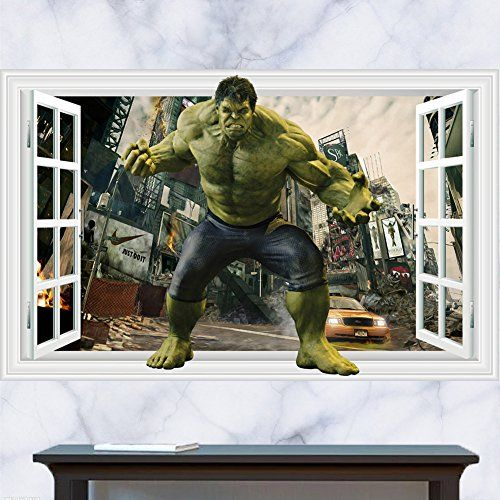 Hulk Marvel Avengers 3d View Wall Sticker Removable Children Bedroom Vinyl Art