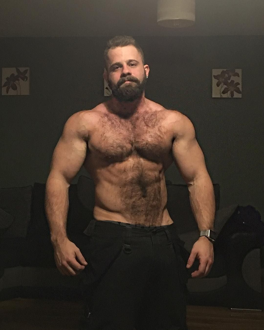 very hairy muscular men