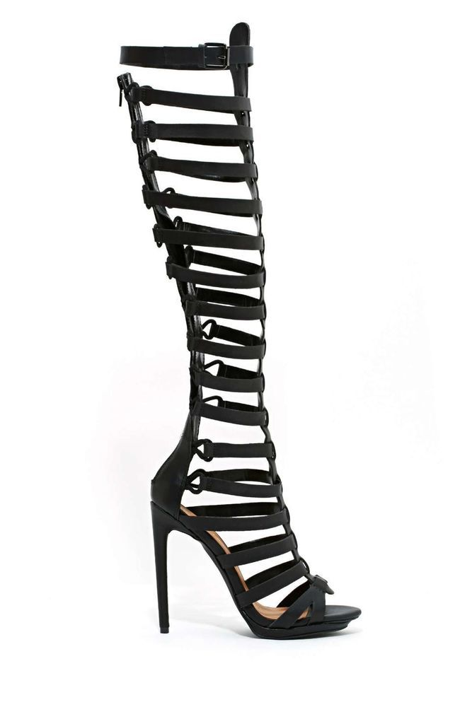 c736340a2aa Black Nastygal Shoes Cult Advantage Gladiator Heels Festival Trendy ...