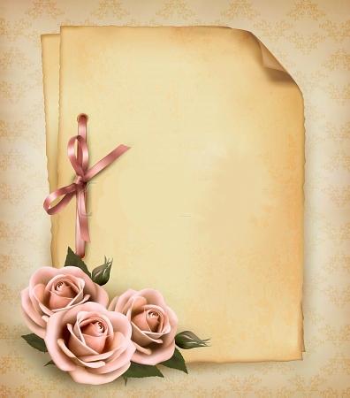 ورق قديم للتصميم2019 شهادات تقدير للكتابه خلفيات ورود كلاسيك للفوتوشوب Retro Background Flower Printable Beautiful Pink Roses