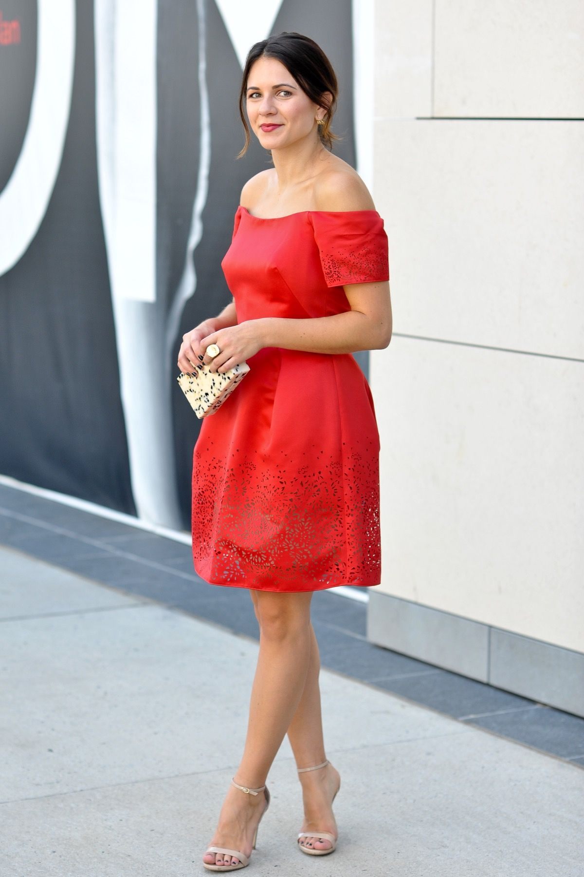 Marchesa Notte Off The Shoulder Red Dress Red Dress Accessories Dresses Red Dress [ 1800 x 1200 Pixel ]