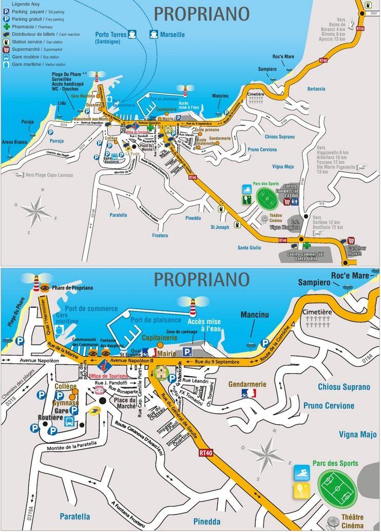 Propriano tourist map Maps Pinterest