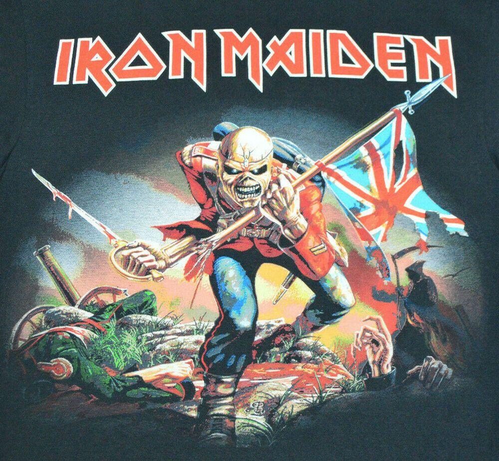 Iron Maiden The Trooper Album Cover Black T Shirt Reprint Mens L Metal Rock Iron Maiden Album Covers Iron Maiden The Trooper Iron Maiden Albums
