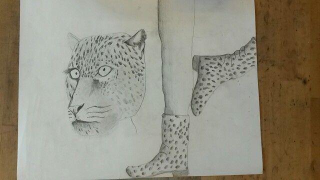 Ik heb de luipaard gearceerd en het lukte aardig tot dat ik bij het oor kwam, ik ben er niet heel trots op maar ik heb het gevoel dat het wel goed is   foto 6