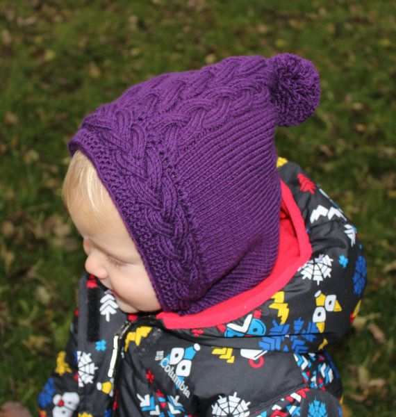 Hand knitted baby Pixie Hat with Collar   Baby by DewKnit on Etsy ... 1d30f85e281e