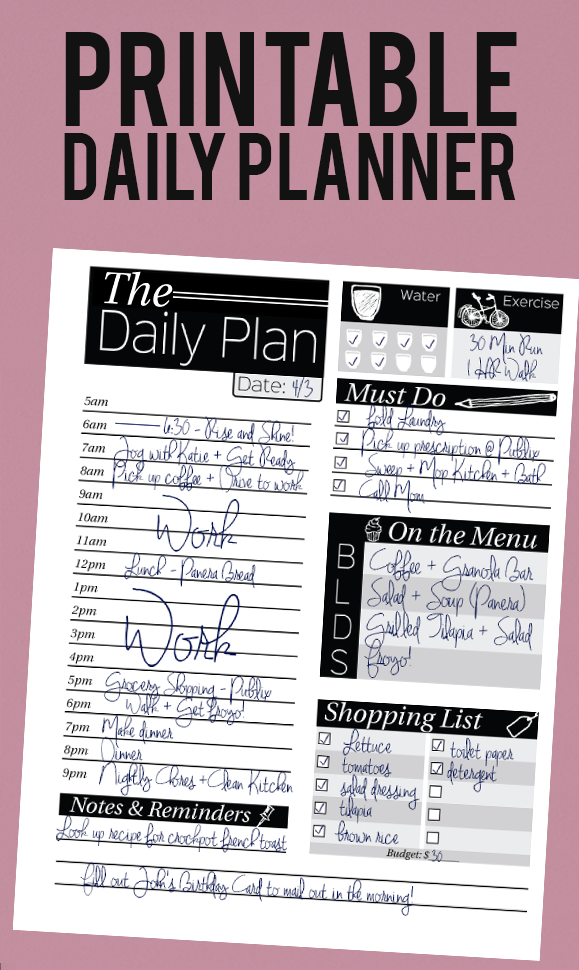 organization  printable daily planner with slots for