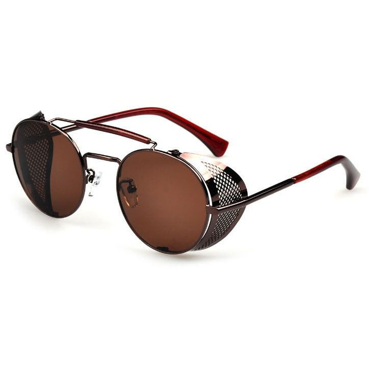 Brown sunglasses with brown perforated foldin side