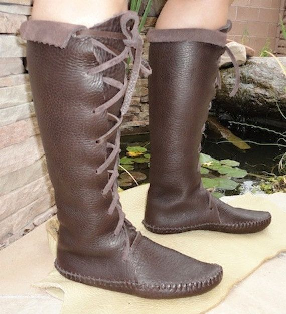 Elf Boots Handmade Lace Up Knee High Moccasins Dark Brown - Handmade Boots