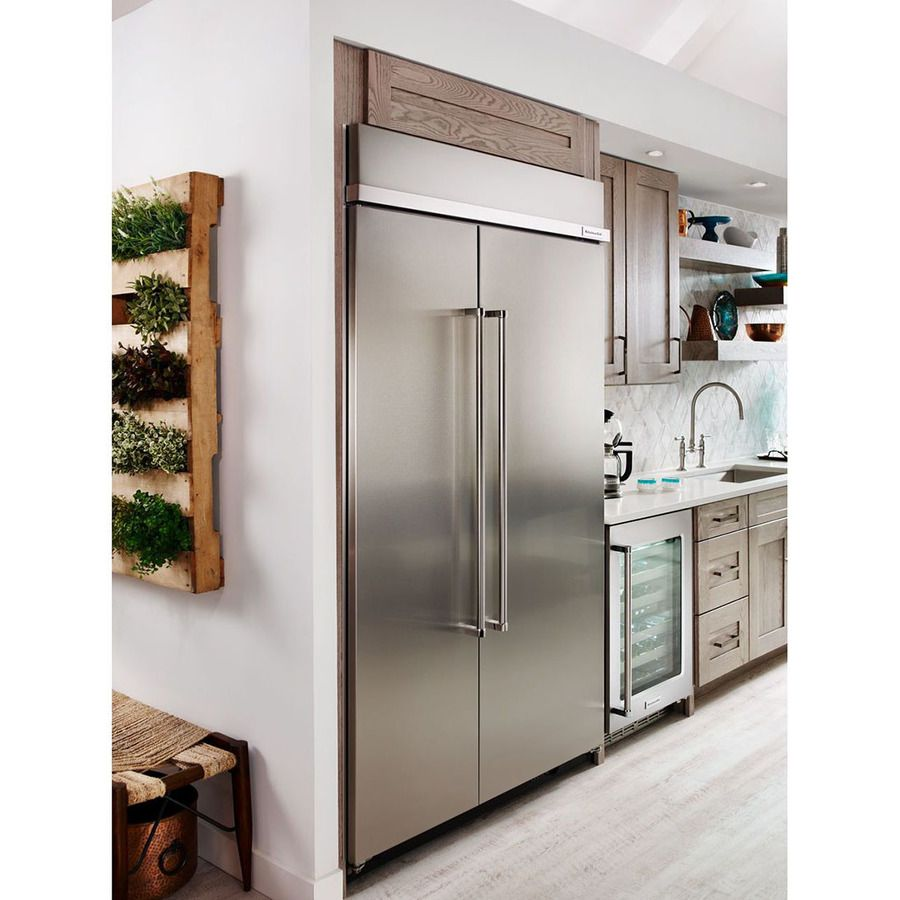 Kitchenaid 30 Cu Ft Built In Side By Side Refrigerator With Ice Maker Stainless Steel With Printshield Lowes Com Built In Refrigerator Kitchen Design Side By Side Refrigerator