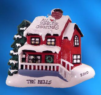 Personalized All Hearts Home for Christmas Christmas Ornament - Red House