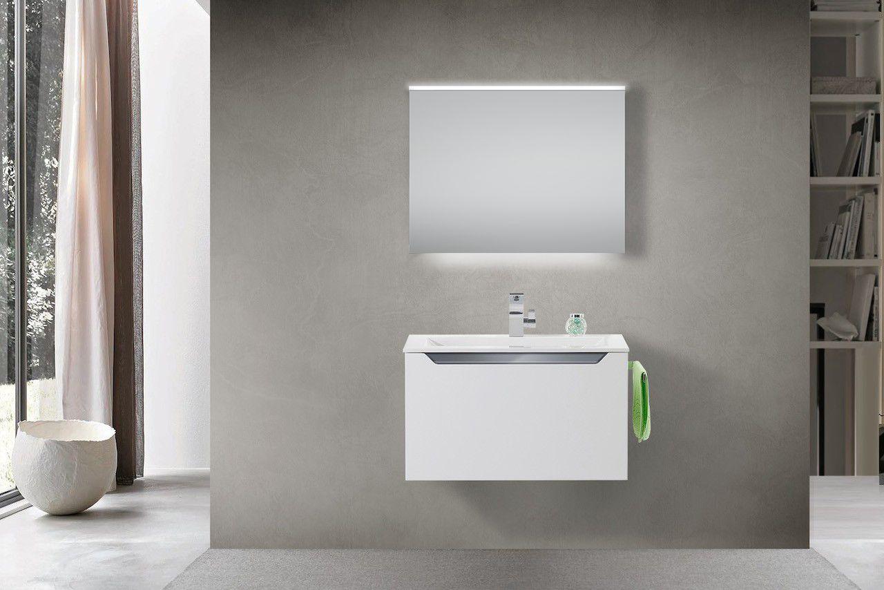 Design Badmobel Set Mit Waschtisch 80 Cm Grau Hochglanz