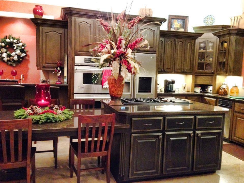 glazed chocolate cabinets and distressed black island ...