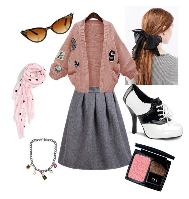 """High Waist Grey Skirt - 50's PoP"" by lisadavispt on Polyvore featuring WithChic, Funtasma, Kate Spade, Christian Dior, women's clothing, women, female, woman, misses and juniors"