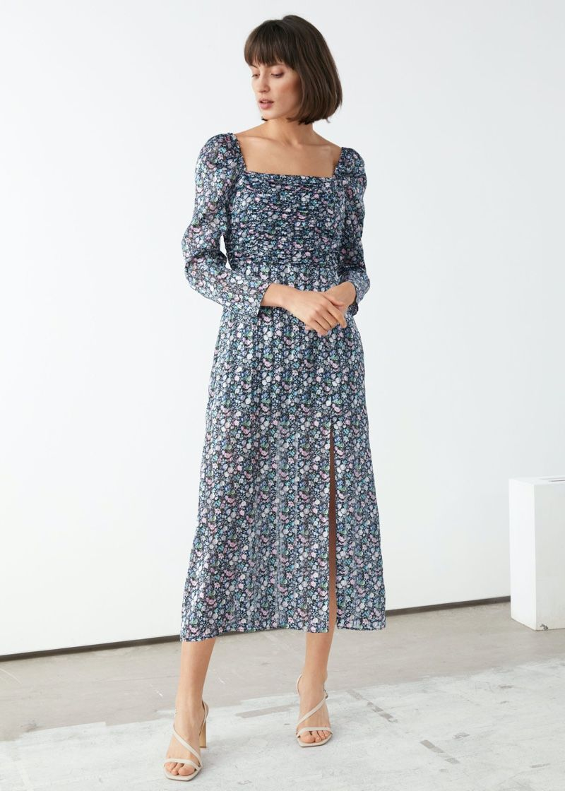 On A Brighter Note Other Stories French Inspired Looks Floral Midi Dress Blue Floral Midi Dress Midi Dress [ 1120 x 800 Pixel ]