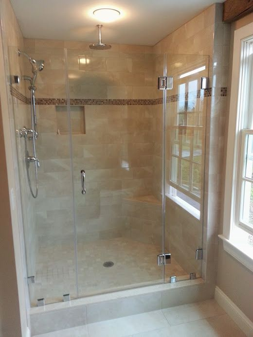 Swinging Frameless Shower Door And Two Panels With Clips And All
