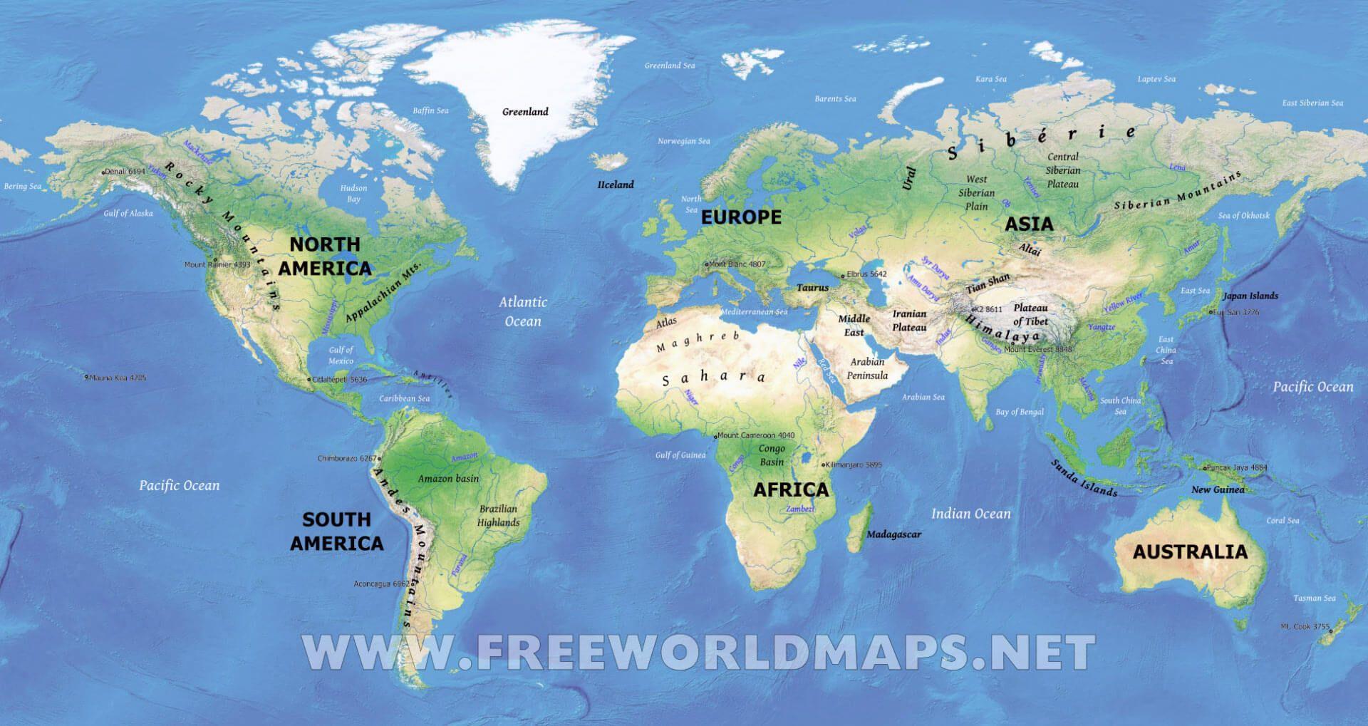 Physical World Map Hd