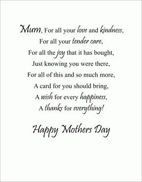Mothers Day Poems With Images Mothers Day Verses Short