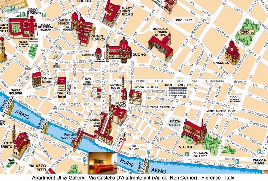 Cartina Citta Di Firenze.Monumenti Di Firenze Thinglink Mappa Monumenti Cornici Di Carta