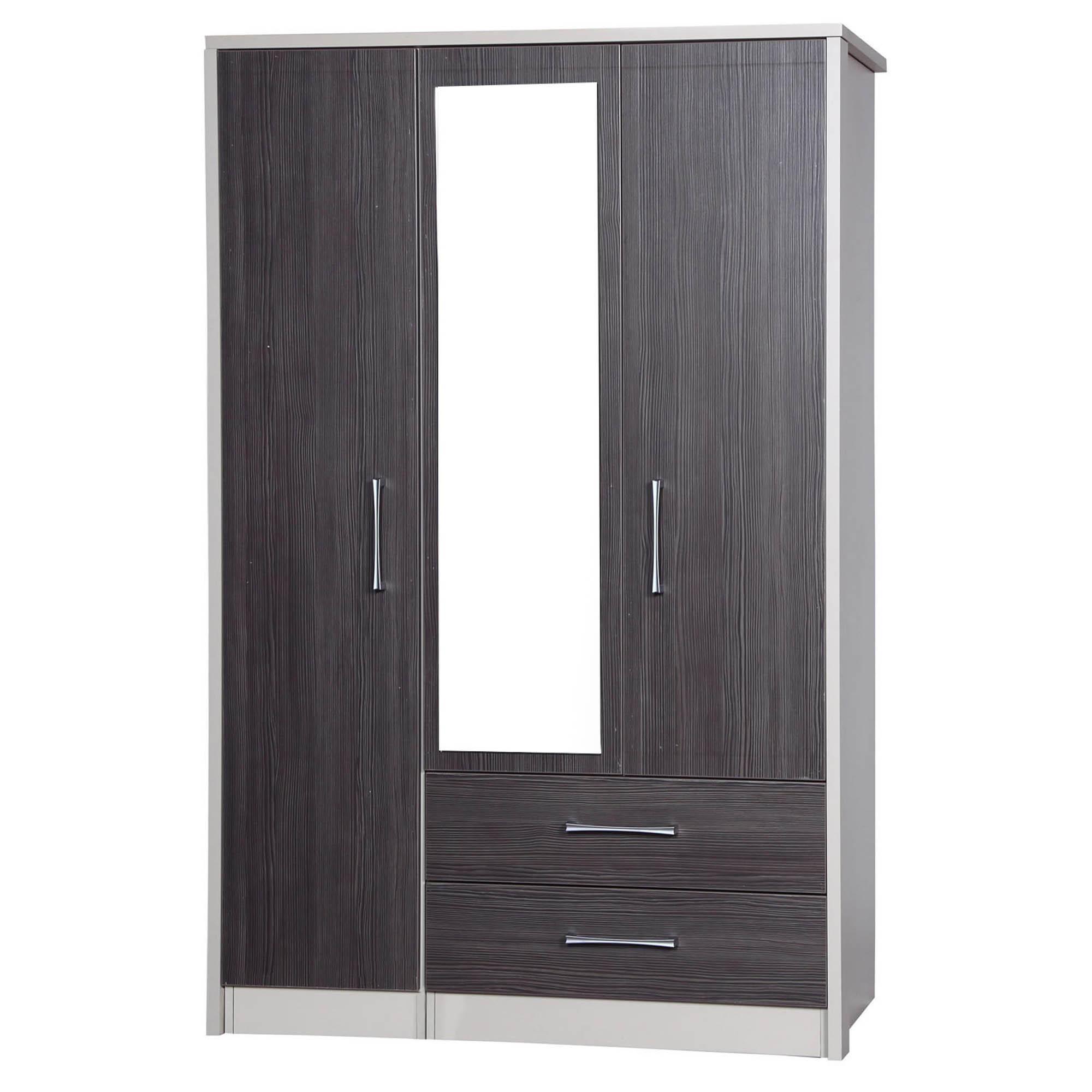 Avola Grey 3 Door 2 Drawer Combi Wardrobe With Mirror Mirrored Wardrobe Oak Wardrobe Tall Cabinet Storage