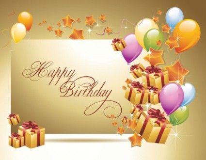 Happy Birthday Postcard 02 Vector Vector Misc Free Vector For