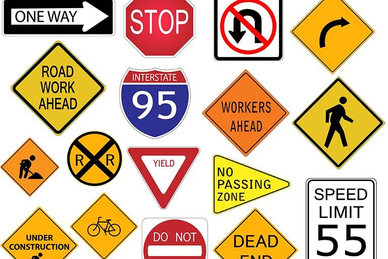 Traffic Signs Are A Frequent Sight In America And In Order To Drive Citizens Are Required To Learn The Variety Of Signs Road Signs Traffic Signs Street Signs