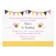 Pink Bumble Bee Birthday Invitations