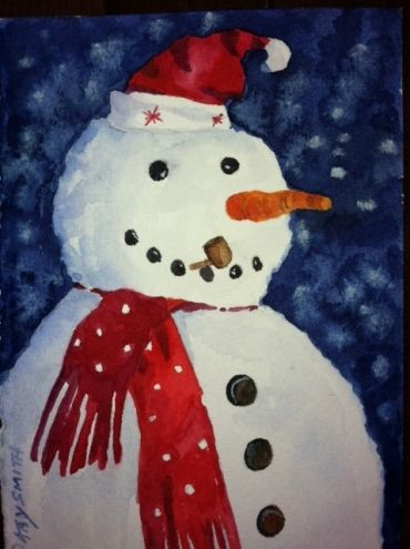 Santa Hat Snowman, painting by artist Kay Smith