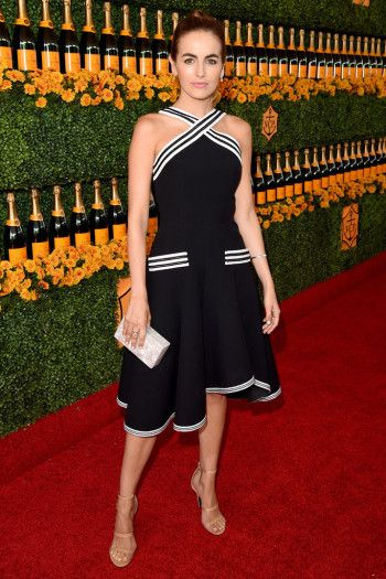 Camilla Belle in Tamara Mellon Frontline sandals.