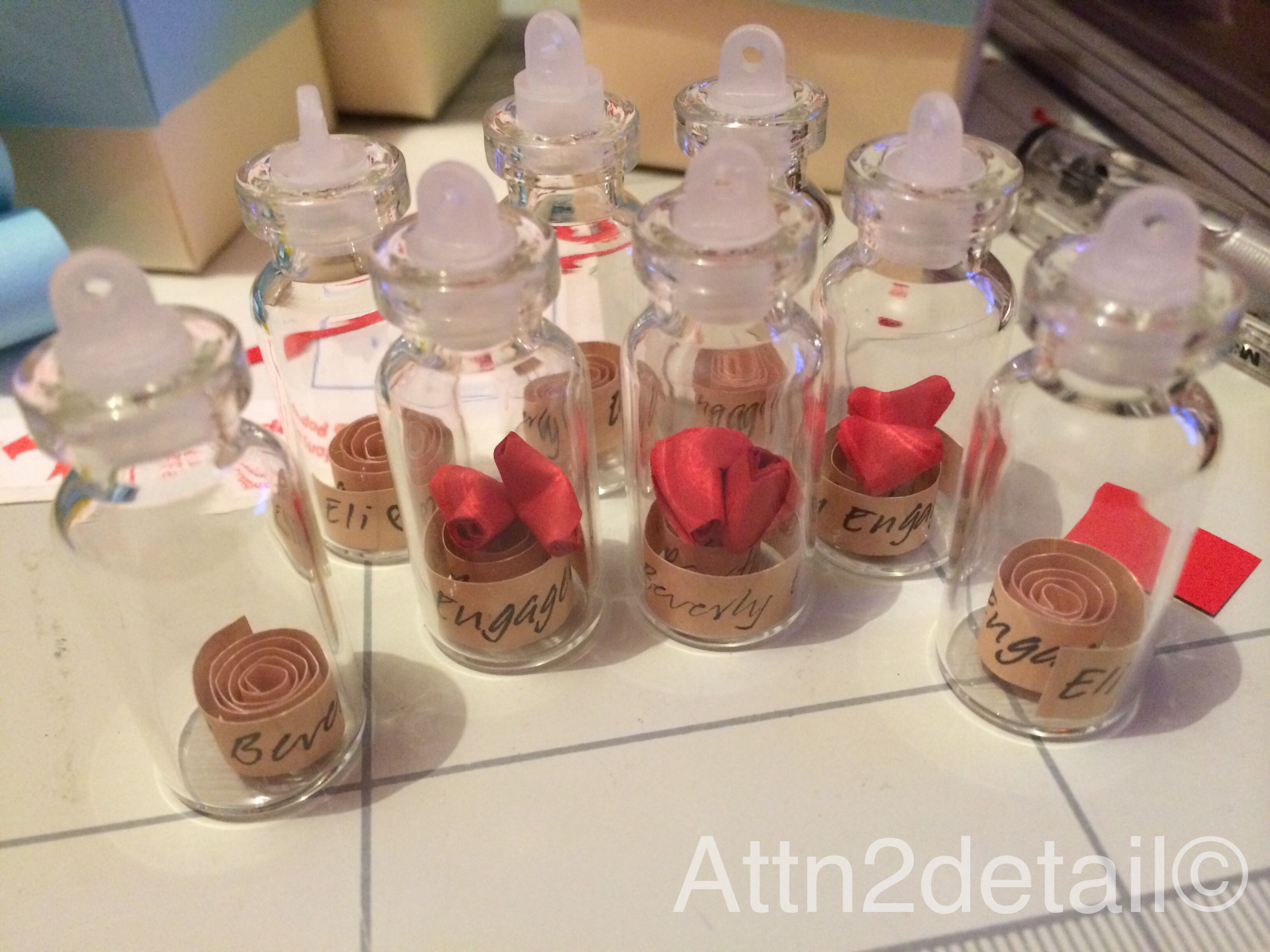 Personalized small bottle engagement party giveaways ...